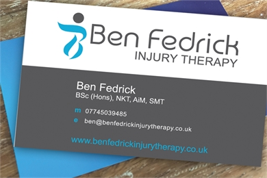 Business card designer and business stationery design in newbury ben fedrick injury therapy business card design reheart Images
